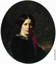 Неврев Н. В. Портрет молодой женщины в черном бархатном платье