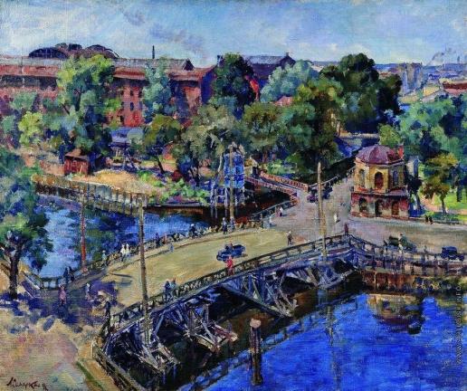 Осмеркин А. А. Ленинград. Пейзаж с деревянным мостом