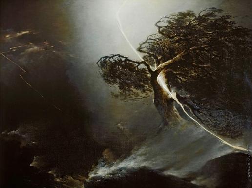 Воробьев М. Н. Дуб, раздробленный молнией. Аллегория на смерть жены художника
