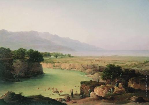 Чернецов Н. Г. Вид реки Иордан при впадении в Мертвое море