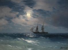 Айвазовский И. К. Бриг «Меркурий» в лунном свете