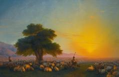 Айвазовский И. К. Пастухи со стадом на  закате