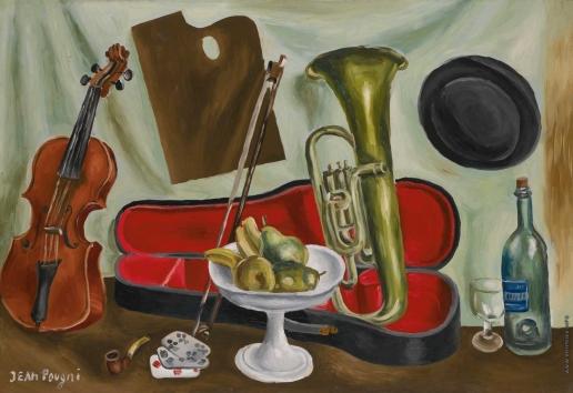 Пуни И. А. Музыкальные инструменты и ваза с фруктами