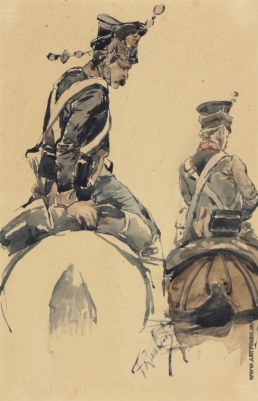 Рубо Ф. А. Два офицера кавалерии