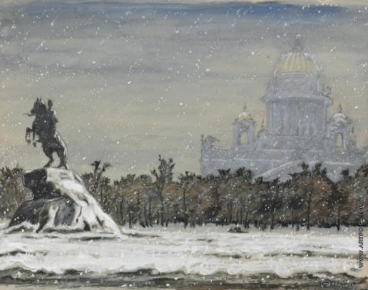 Добужинский М. В. Вид на Медного всадника и Исаакиевский собор зимой