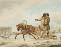 Кольман К. И. Поездка на санях через город