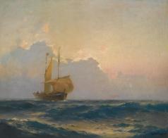 Ганзен А. В. Корабль на закате