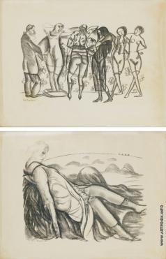 Григорьев Б. Д. Собрание из одиннадцати литографий для Russiche erotik
