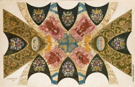 Билибин И. Я. Эскиз дизайна потолка фрески для Государственного банка в Нижнем Новгороде