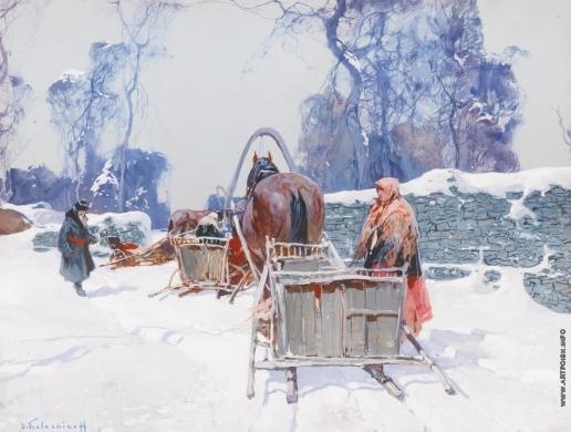 Колесников С. Ф. Лошади в снегу