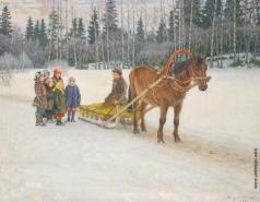 Богданов-Бельский Н. П. Дети с санями зимой