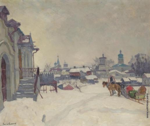 Лаховский А. Б. Зимний деревенский пейзаж с тройкой