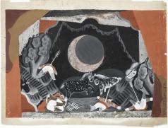 "Челищев П. Ф. Эскиз декорации к ""Золотому петушку"", Римский-Корсаков. Битва при луне."