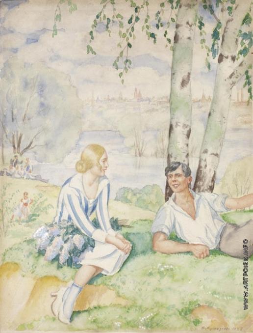 Кустодиев Б. М. На берегу реки (Весна)