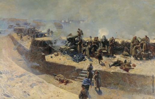 Рубо Ф. А.  Отражение бомбардировки англо-французского флота со стороны Александровской батареи 5 октября 1854 года. Севастополь