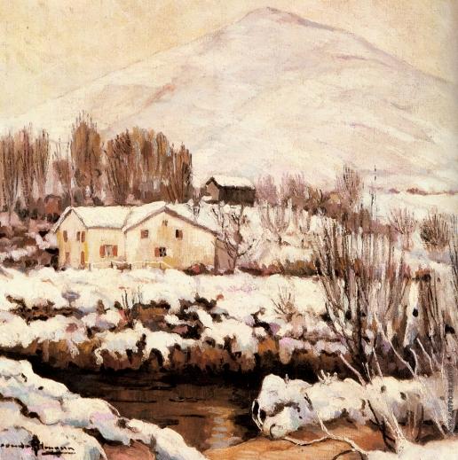 Альтман А. Зимний пейзаж с коттеджем