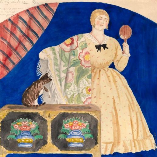 Кустодиев Б. М. Купчиха с зеркалом. Эскиз росписи кабаре-ресторана