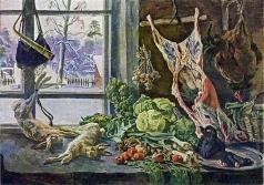 Кончаловский П. П. Натюрморт. Мясо, дичь и брюссельская капуста на фоне окна