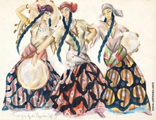 Пожедаев Г. А. Танцующие цыганки с бубнами. Эскиз костюмов к опере С.В. Рахманинова «Алеко»