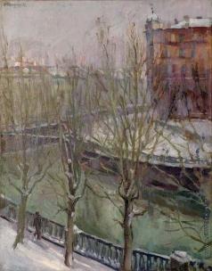 Осмеркин А. А.  Зимний пейзаж с рекой