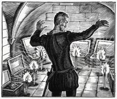 """Фаворский В. А. Иллюстрация к """"Маленьким трагедиям"""" А. С. Пушкина. """"Скупой рыцарь"""""""