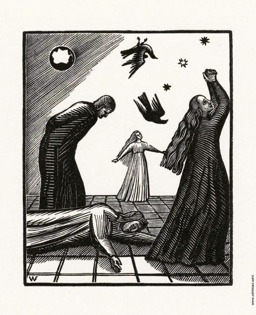 """Фаворский В. А. Иллюстрация к произведению Данте """"Vita Nova"""". Сон о страшной любви"""