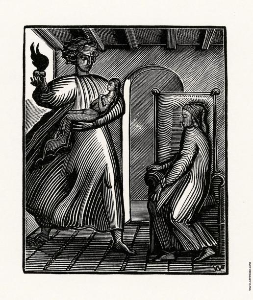 Фаворский В. А. Иллюстрация к произведению Данте Vita Nova. Сон о смерти госпожи