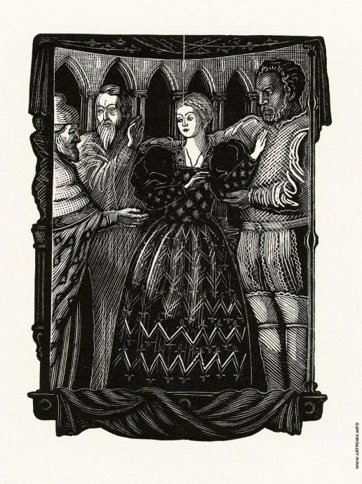 """Фаворский В. А. Фронтиспис к трагедии У. Шекспира """"Отелло"""". Отелло и Дездемона в совете дожа"""