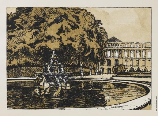 """Бенуа А. Н. Фонтан в парке. Из альбома """"Версаль"""""""