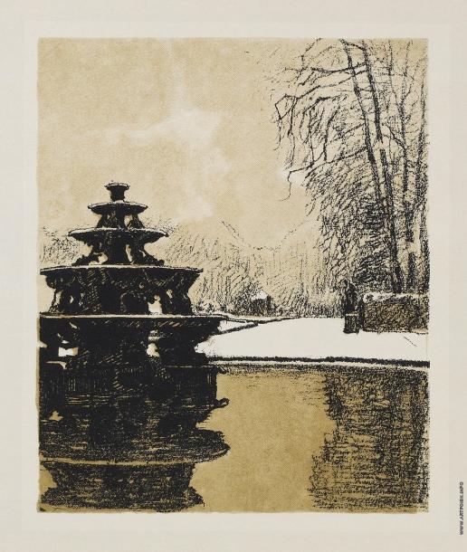 """Бенуа А. Н. Фонтан в снегу. Из альбома """"Версаль"""""""