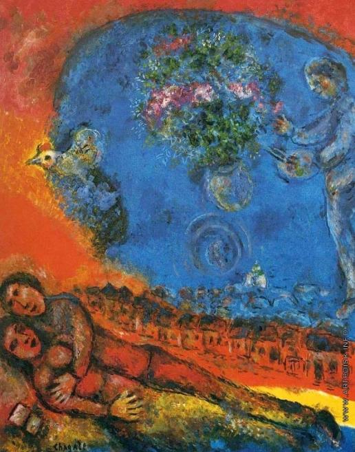 Шагал М. З. Пара на красном фоне