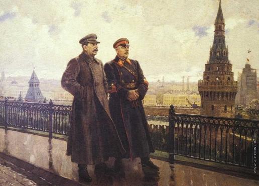 Герасимов А. М. И. В. Сталин и К. Е. Ворошилов в Кремле