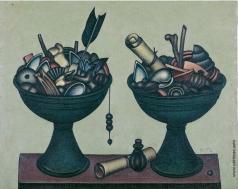 Краснопевцев Д. М. Две зеленые вазы с предметами