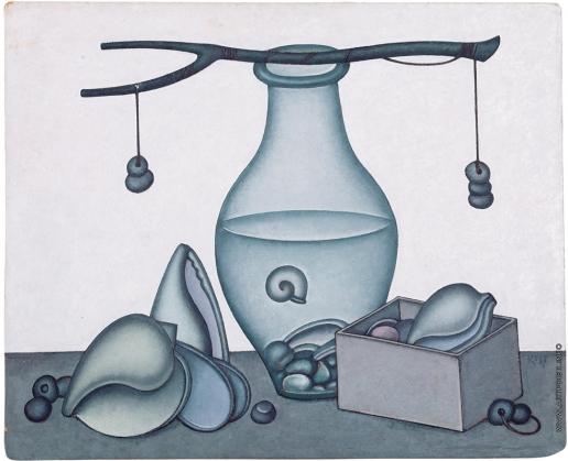Краснопевцев Д. М. Стеклянный сосуд с водой и раковины. Весы