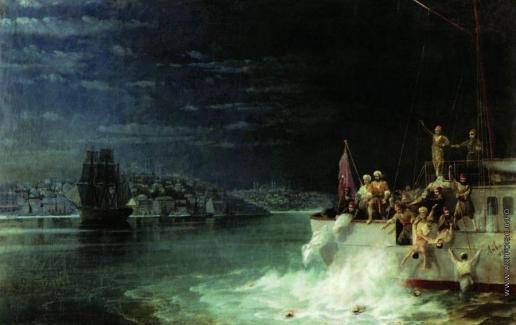 Айвазовский И. К. Ночь. Трагедия в Мраморном море