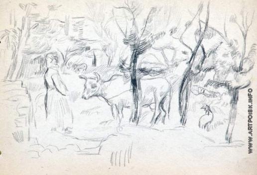 Древин А. Д. Крестьянка с коровой