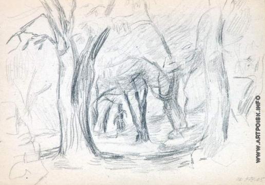 Древин А. Д. Фигура меж деревьев