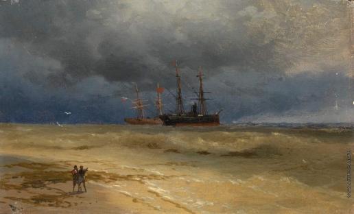 Айвазовский И. К. Два корабля, стоящие на якоре у берега