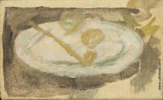 Пуни И. А. Натюрморт с тарелкой и трубкой