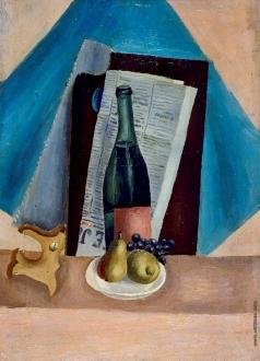 Пуни И. А. Натюрморт с бутылкой и грушами