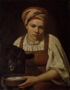 Венецианов А. Г. Крестьянская девушка с теленком