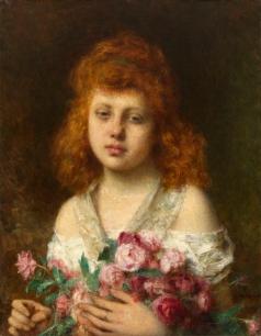 Харламов А. А. Девочка с золотисто-каштановыми волосами, держащая букет из красных роз