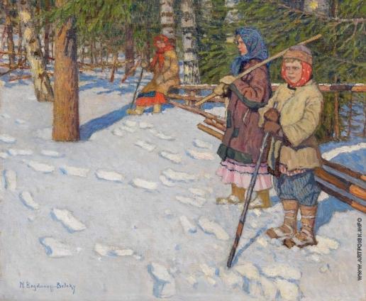 Богданов-Бельский Н. П. Дети в зимнем лесу