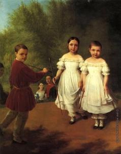Венецианов А. Г. Портрет детей Панаевых с няней