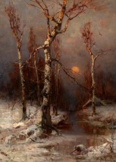 Клевер Ю. Ю. Закат в зимнем лесу