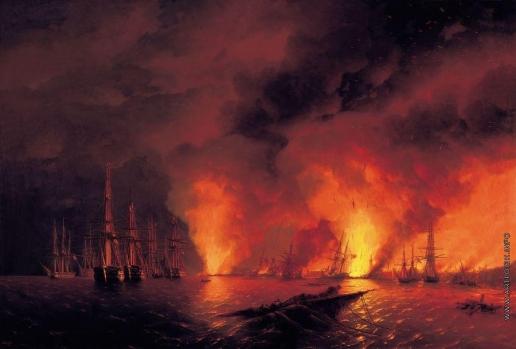 Айвазовский И. К. Синопский бой 18 ноября 1853 года (Ночь после боя)