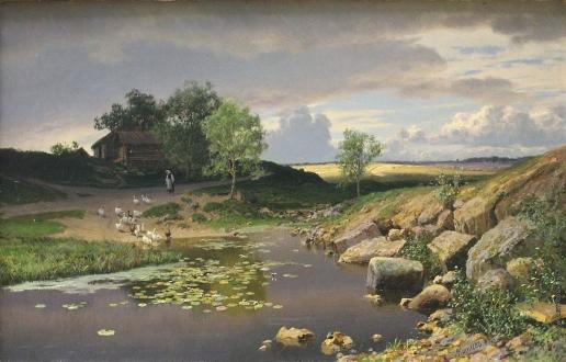 Киселев А. А. Пейзаж с гусями