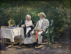 Маковский В. Е. Старички (Чаепитие)