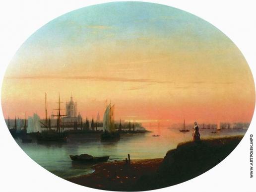 Айвазовский И. К. Смольный монастырь. Закат солнца