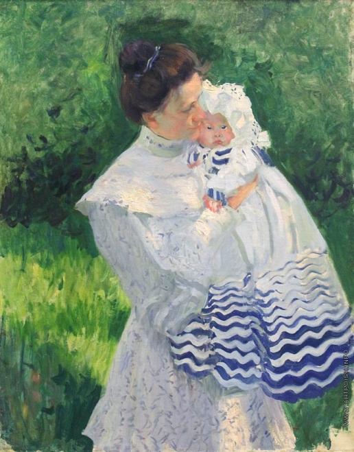 Кустодиев Б. М. Ю.Е. Кустодиева с дочерью.